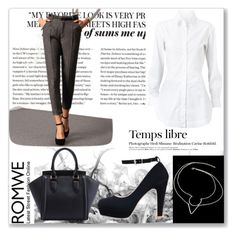"""""""ROMWE I"""" by abecic ❤ liked on Polyvore featuring Alaïa, Hedi Slimane, romwe and classy"""