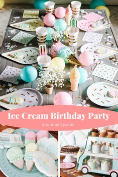 Birthday Themes For Girls, 1st Birthday Party Themes, Little Girl Birthday, 7th Birthday, Birthday Ideas, Ice Cream Decorations, Kids Party Decorations, Party Ideas, Ice Cream Themed Party