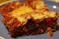 Another mexican lasagna , I always use more cheese than they say ! Freezes well too   : )