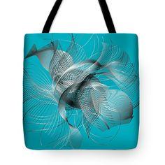 Marina Usmanskaya Tote Bag featuring the digital art Abstract Fish by Marina Usmanskaya#ArtForHome#MarinaUsmanskayaDigitalArt#Sea