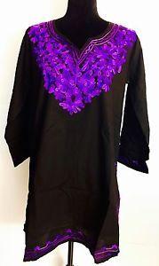 Women 100 Cotton Kurti Kurta Tunic Dress Top Hand Embroidered Black Size M   eBay