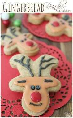 Easy Gingerbread Reindeer Cookies! Fun Christmas Cookies for your Kids and easy Gingerbread Recipe!