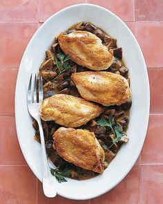 Roast Chicken with Wild Mushroom Sauce - use non gluten flour and substitute coconut milk for heavy cream!      Martha Stewart Recipes