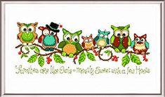A Few Hoots - Owl cross stitch pattern designed by Ursula Michael. Category: Sayings.