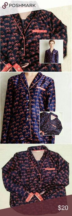 Anthropologie Eloise Bicycle Print Pajama Top Anthropologie Eloise Sweetest Dreams Bicycle Print Pajama Top Excellent condition  Button front 100% polyester  Size medium  Navy and orange (on the coral side of orange) Model photos are Anthropologie stock photos All other photos are of actual item Anthropologie Intimates & Sleepwear Pajamas