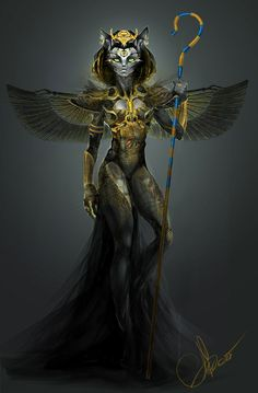 Bast (Rhymes with Past). Also Bastet, her name means 'Tearer,' 'Devourer,' and 'Lady of the Perfume Jar.' She is the original Catwoman, depicted as a woman with the head of a cat or as a kitty adorned in jewels. Bastet Goddess, Goddess Art, Egyptian Mythology, Egyptian Goddess, Fantasy Creatures, Mythical Creatures, Original Catwoman, World Mythology, Egyptian Cats