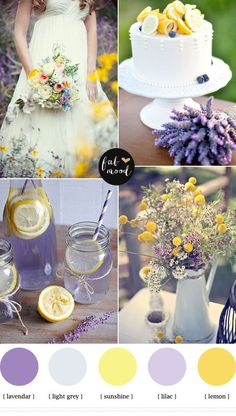 Lemon lavender wedding colors | http://fabmood.com/lemon-lavender-wedding-colors-palette/: