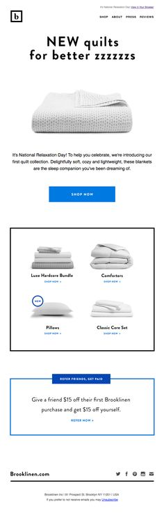 Really Good Emails - The Best Email Designs in the Universe (that came into my inbox) Classic Pillows, Email Newsletter Design, Sale Emails, Email Design Inspiration, Promotional Design, Best Email, Email Marketing, Relax, Day