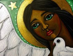 FOLK BLACK ANGEL SAINT BIG EYED & DOVE CARD by Cyra R. Cancel