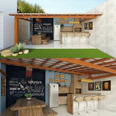 Minha área gourmet pequena Backyard Patio Designs, Backyard Projects, Outdoor Spaces, Outdoor Living, Terrace Design, Outdoor Kitchen Design, House Design, Barbacoa, Sweet