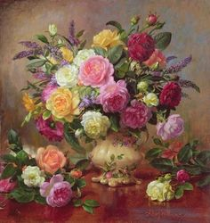 Roses from a Victorian Garden (oil on canvas) Wall Art & Canvas Prints by Albert Williams