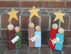 Simple Wooden Nativity Set, Mary Joseph and Baby Jesus