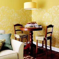Try this alternative to glue-on wallpaper. Use an oversize stencil to add pattern to your walls. Paint the stencil pattern from floor to ceiling for an overall wallpaper effect. Or stencil below a chair-rail or plate-rail height, or on just one accent wall. A mottled paint finish gives this damask stencil design more dimension and texture.