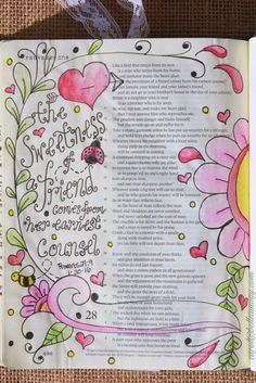 Proverbs 27:9, January 30, 2016  carol@belleauway.com, watercolor, bible art journaling, bible journaling, illustrated faith