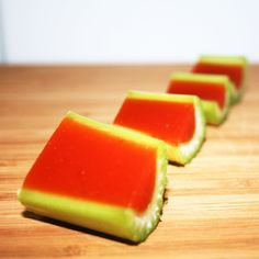 Blood Mary Jell-O shots.  (Or could use hollowed out dill pickles)