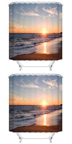 $16.76 Thicken Sea Sunset Polyester Waterproof Bath Shower Curtain