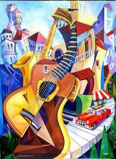 """Título : all music  Autor : Armando Canovas Esperde  Medidas : 30""""x 40 """"  Técnica : oleo sobre lienzo"""