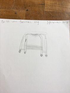 Hier moesten we de ribben van de stoel tekenen van een bepaald punt.