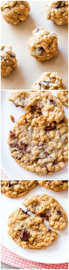 Soft and chewy with slightly crisp edges, these dark chocolate chunk oatmeal cookies are full of flavor and exploding with chocolate! Easy Cookie Recipes, Cookie Desserts, Just Desserts, Delicious Desserts, Dessert Recipes, Yummy Food, Chocolate Muffins, Chocolate Chip Cookies, Chocolate Oatmeal