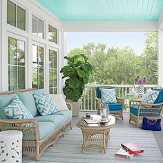Beautiful Back Porch - 47 Beachy Porches and Patios - Coastal Living love the blue ceiling
