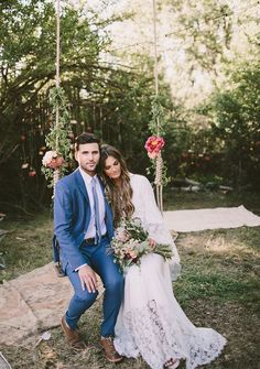Boho swings wedding couple photo idea / http://www.deerpearlflowers.com/wedding-reception-decor-swing-ideas/