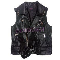 Womens Fashion Sleeveless Vest Zip Belt Decor Waistcoat Coats Jackets PU Leather #Unbranded