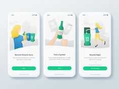 Onboarding illustrations for Recycle Academy App designed by Alica Ševčíková. Connect with them on Dribbble; the global community for designers and creative professionals. Ios App Design, Interface Design, Ux Design, App Design Inspiration, Inspiration Wall, Website Design Layout, Ways To Recycle, Mobile App Ui, Mobile Design