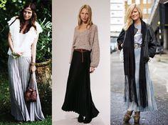 A tendência das saias longas continua firme e forte! Os últimos modelos desfilados nas passarelas e nas ruas são de saias longas plissadas. Fotos: Reprodução