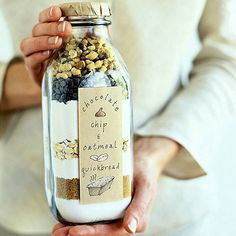 Chocolate Chip Oatmeal Bread in a Jar -Sunset Magazine-ingredient layers are…