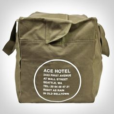 "ACE HOTEL SEATTLE DUFFEL BAG // $45. Our new Ace Hotel Duffel Bag come in four different varieties. They all have some important traits in common — like highly capable canvas construction and double-reinforced handles. From there they branch out into different colors and represent for an Ace with the hotel address and a city motto of sorts. Please note that these bags do not include a shoulder strap, just handles. 24"" x 15"" x 13"" inches."