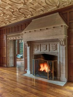 Tudor arch fireplace – The Schweppe Estate, Lake Forest, Illinois (built 1917)