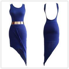Asymmetrical deep blue dress
