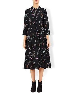 Our Ark butterfly-print midi shirt dress is crafted with a pointed collar, a concealed button placket and three-quarter length sleeves. This ladylike style f...