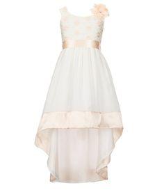 Rare Editions 7-16 Hi-Low Lace Floral Dress
