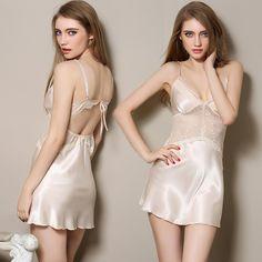 Ladies Sexy Silk Satin Night Dress Halter Nighties Nightgown Plus Size Spaghetti Strap Lace Sleepwear Sleepshirts For Women