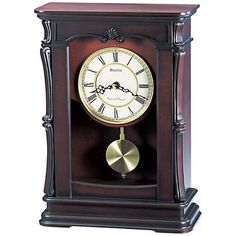 "Abbeville Walnut 13 1/4"" High Bulova Mantel Clock - #F6799 