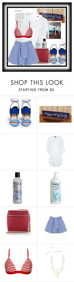"""""""Untitled #1045"""" by kisses4u ❤ liked on Polyvore featuring Paul Andrew, Farrow & Ball, New Look, Ouidad, MSGM, Solid & Striped, Chan Luu, beach, 4thofjuly and AllSummer16"""