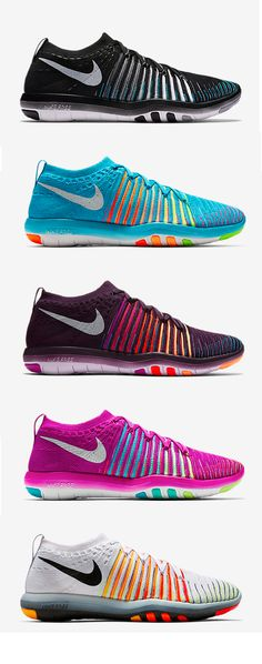 Sets look better in stripes. Take the supportive Nike Free Transform Flyknit Women's Training shoe to the gym in any color — from grand purple to pure platinum and gamma blue to hyper violet.