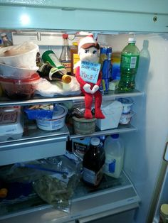 """Yule, our Elf on a Shelf, putting his own twist on a Ghostbusters quote: """"There is no Dana, only Yule. """""""