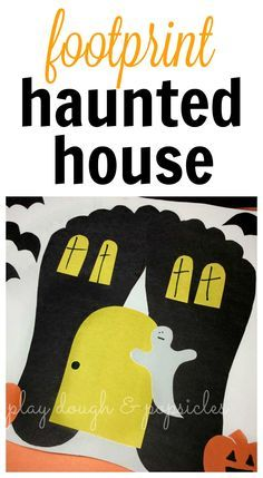 Spooky Footprint Haunted House Craft For Kids. A Perfect Halloween Preschool…
