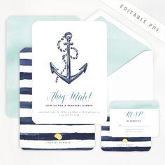 Nautical Watercolor Invitation / Lemonade Moments