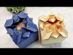 Origami Paper Art, Paper Crafts, Wrapping Ideas, Gift Wrapping, Origami Box Tutorial, Origami Gift Box, Birthday Presents, Projects To Try, Decorative Boxes