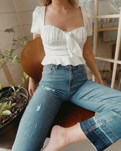 Our Ivory Satin Peplum Top and Two Tone High Rise Straight Crop Jeans are perfect for those breezy evening nights. this sweet dream Basic Outfits, Girly Outfits, Trendy Outfits, Fall Outfits, Summer Outfits, Cute Outfits, Fashion Outfits, Womens Fashion, Fashion Tips