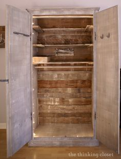 Shelves Pallet IKEA Hack: Pallet Shelves and Back Wall on our Whitewashed Fjell Wardrobe Diy Furniture Easy, Recycled Furniture, Pallet Furniture, Painted Furniture, Pallet Shelves, Pallet Benches, Pallet Cabinet, Pallet Tables, Pallet Bar