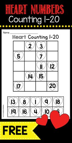 FREEBIE practice ordering numbers 1-20 with this free math worksheet - perfect kindergarten math center for February
