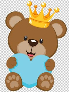 Brown bear with yellow crown holding blue heart illustration, Teddy bear Baby shower Infant , SALVAJE transparent background PNG clipart Teddy Bear Baby Shower, Baby Boy Shower, Moldes Para Baby Shower, Baby Shower Clipart, Bear Theme, Baby Clip Art, Baby Shower Invitaciones, Baby Shawer, Baby Shower Decorations For Boys
