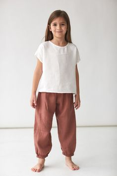 136 cecile culottes in oatmeal with lou shell top in stripe 37 Cute Outfits For Kids, Baby Outfits, Little Girl Fashion, Kids Fashion, Handmade Baby Clothes, Baby Shirts, Sewing For Kids, Kids Wear, Divas