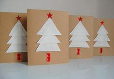 Biglietti con albero di Natale di stoffa