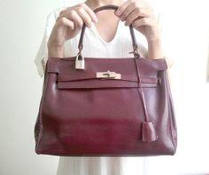 vintage bag  kelly style burgundy leather by lesclodettes on Etsy, $55.00