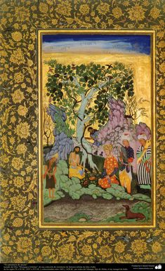 """""""En presencia de asceta"""" - miniatura del libro """"Muraqqa-e Golshan"""" - 1605 y 1628 dC.   Galería de Arte Islámico y Fotografía"""